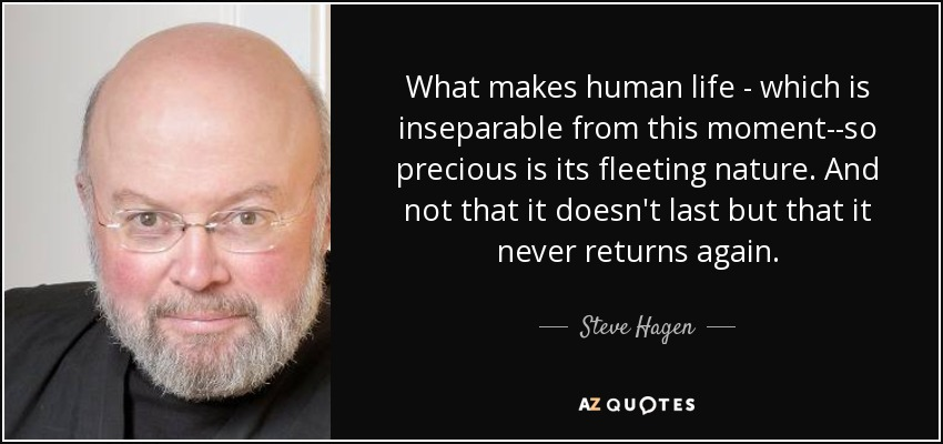 What makes human life - which is inseparable from this moment--so precious is its fleeting nature. And not that it doesn't last but that it never returns again. - Steve Hagen