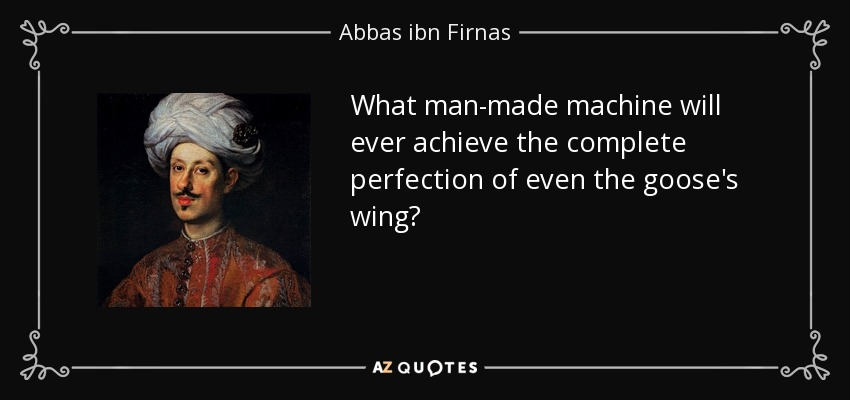 What man-made machine will ever achieve the complete perfection of even the goose's wing? - Abbas ibn Firnas