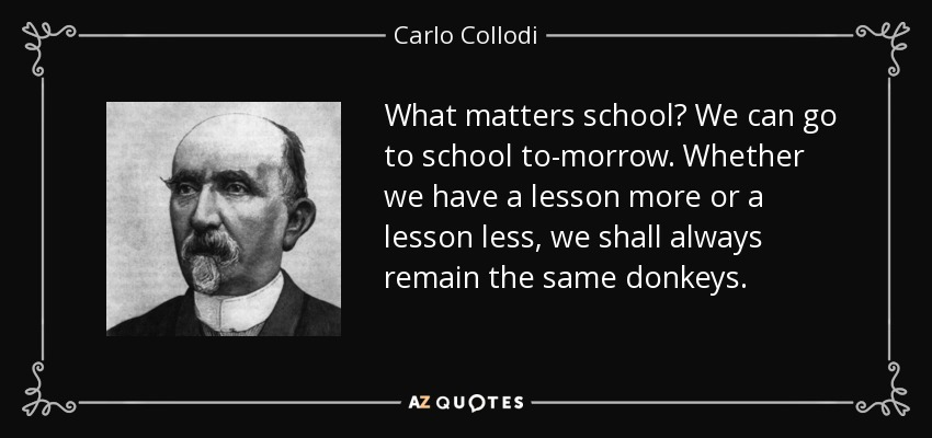 What matters school? We can go to school to-morrow. Whether we have a lesson more or a lesson less, we shall always remain the same donkeys. - Carlo Collodi