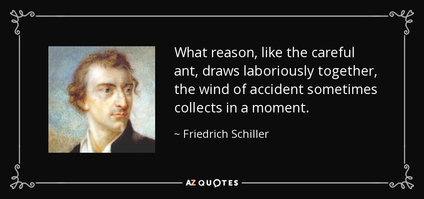 What reason, like the careful ant, draws laboriously together, the wind of accident sometimes collects in a moment. - Friedrich Schiller