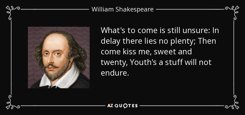 What's to come is still unsure: In delay there lies no plenty; Then come kiss me, sweet and twenty, Youth's a stuff will not endure. - William Shakespeare