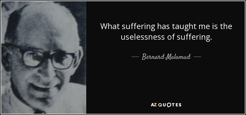 What suffering has taught me is the uselessness of suffering. - Bernard Malamud