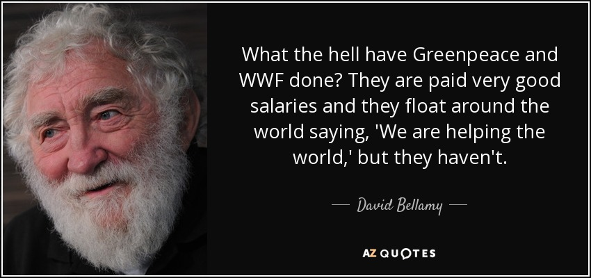 What the hell have Greenpeace and WWF done? They are paid very good salaries and they float around the world saying, 'We are helping the world,' but they haven't. - David Bellamy