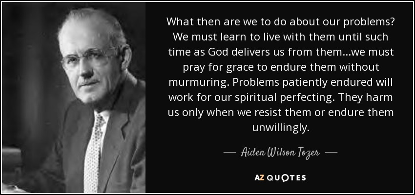 What then are we to do about our problems? We must learn to live with them until such time as God delivers us from them...we must pray for grace to endure them without murmuring. Problems patiently endured will work for our spiritual perfecting. They harm us only when we resist them or endure them unwillingly. - Aiden Wilson Tozer