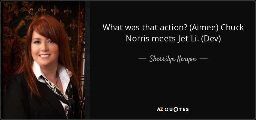 What was that action? (Aimee) Chuck Norris meets Jet Li. (Dev) - Sherrilyn Kenyon