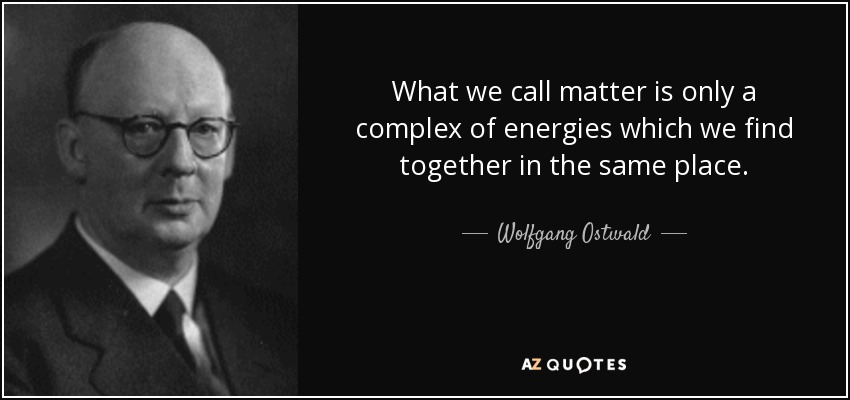 What we call matter is only a complex of energies which we find together in the same place. - Wolfgang Ostwald