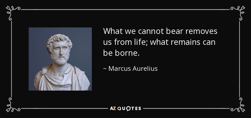 What we cannot bear removes us from life; what remains can be borne. - Marcus Aurelius