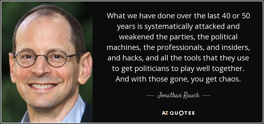 What we have done over the last 40 or 50 years is systematically attacked and weakened the parties, the political machines, the professionals, and insiders, and hacks, and all the tools that they use to get politicians to play well together. And with those gone, you get chaos. - Jonathan Rauch
