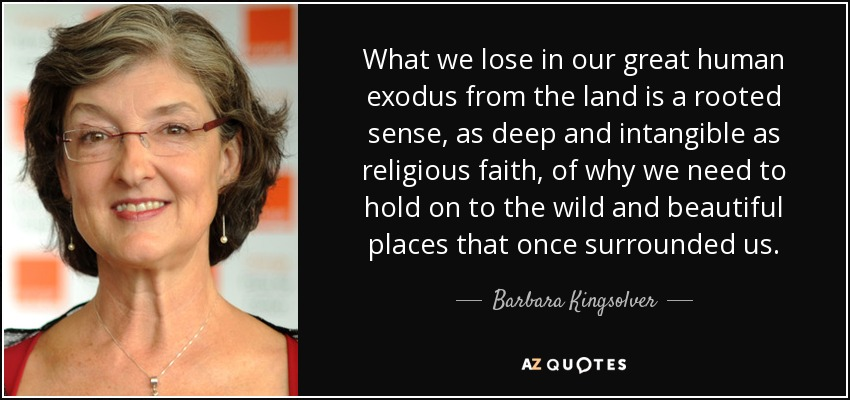 What we lose in our great human exodus from the land is a rooted sense, as deep and intangible as religious faith, of why we need to hold on to the wild and beautiful places that once surrounded us. - Barbara Kingsolver