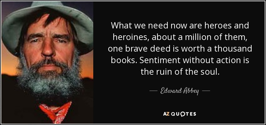 What we need now are heroes and heroines, about a million of them, one brave deed is worth a thousand books. Sentiment without action is the ruin of the soul. - Edward Abbey