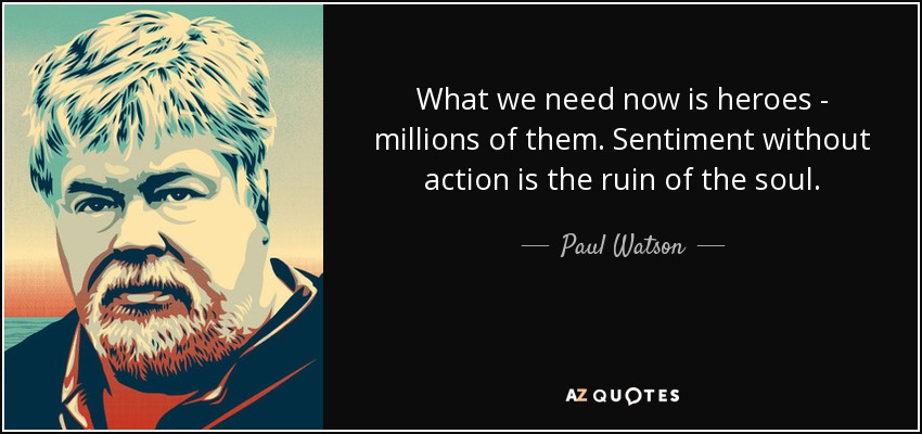 What we need now is heroes - millions of them. Sentiment without action is the ruin of the soul. - Paul Watson