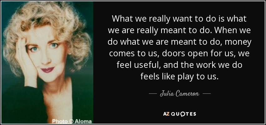 What we really want to do is what we are really meant to do. When we do what we are meant to do, money comes to us, doors open for us, we feel useful, and the work we do feels like play to us. - Julia Cameron