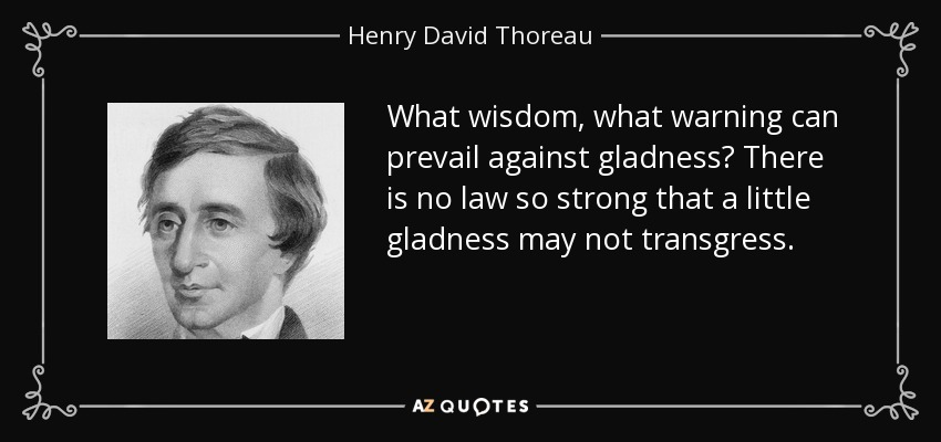 What wisdom, what warning can prevail against gladness? There is no law so strong that a little gladness may not transgress. - Henry David Thoreau