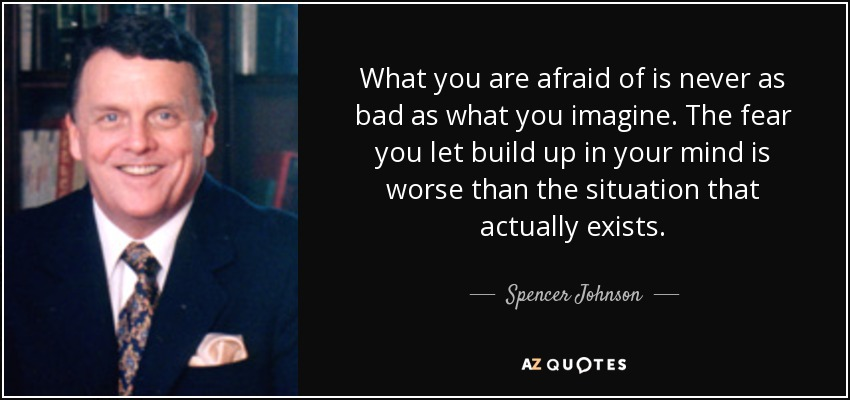 What you are afraid of is never as bad as what you imagine. The fear you let build up in your mind is worse than the situation that actually exists. - Spencer Johnson