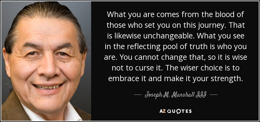 What you are comes from the blood of those who set you on this journey. That is likewise unchangeable. What you see in the reflecting pool of truth is who you are. You cannot change that, so it is wise not to curse it. The wiser choice is to embrace it and make it your strength. - Joseph M. Marshall III