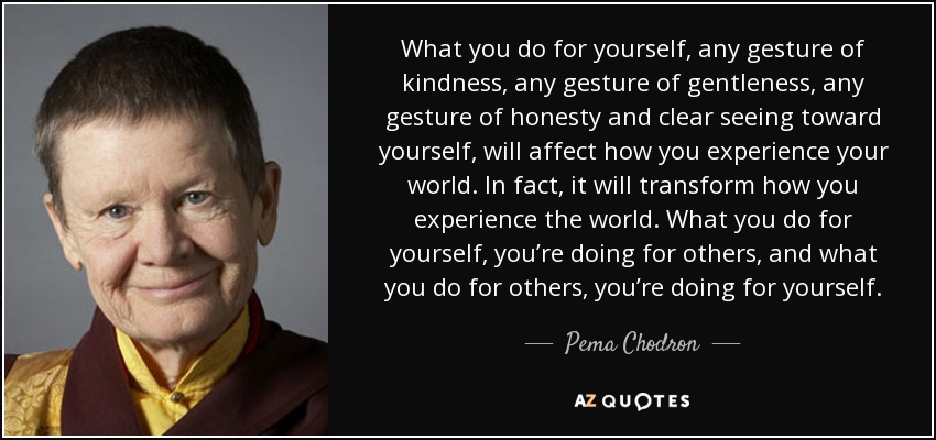 What you do for yourself, any gesture of kindness, any gesture of gentleness, any gesture of honesty and clear seeing toward yourself, will affect how you experience your world. In fact, it will transform how you experience the world. What you do for yourself, you're doing for others, and what you do for others, you're doing for yourself. - Pema Chodron