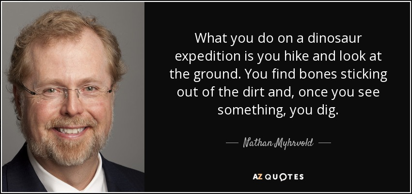 What you do on a dinosaur expedition is you hike and look at the ground. You find bones sticking out of the dirt and, once you see something, you dig. - Nathan Myhrvold