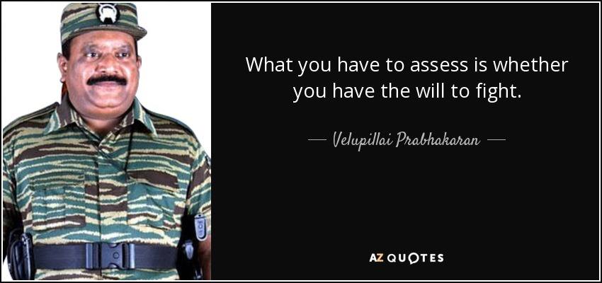 What you have to assess is whether you have the will to fight. - Velupillai Prabhakaran
