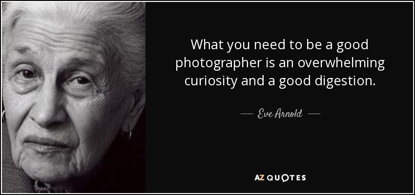 What you need to be a good photographer is an overwhelming curiosity and a good digestion. - Eve Arnold