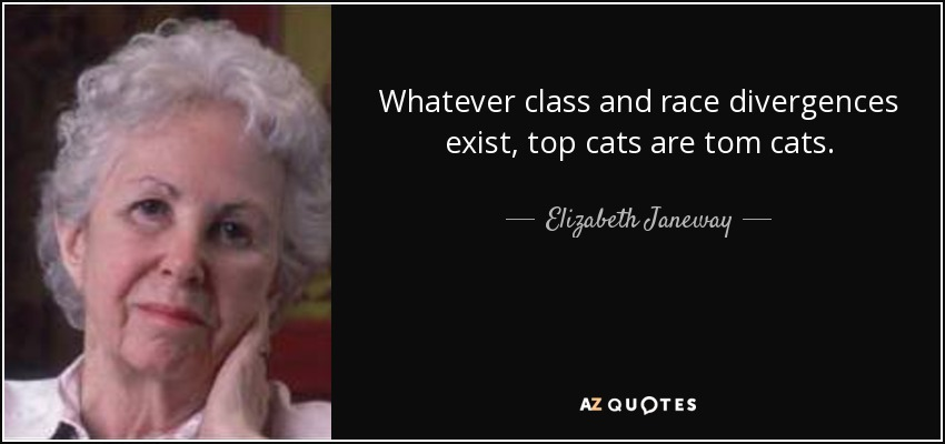 Whatever class and race divergences exist, top cats are tom cats. - Elizabeth Janeway