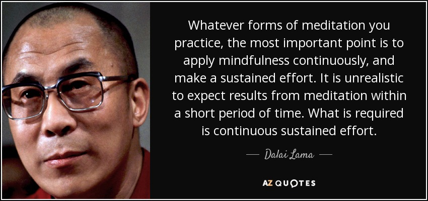 Whatever forms of meditation you practice, the most important point is to apply mindfulness continuously, and make a sustained effort. It is unrealistic to expect results from meditation within a short period of time. What is required is continuous sustained effort. - Dalai Lama