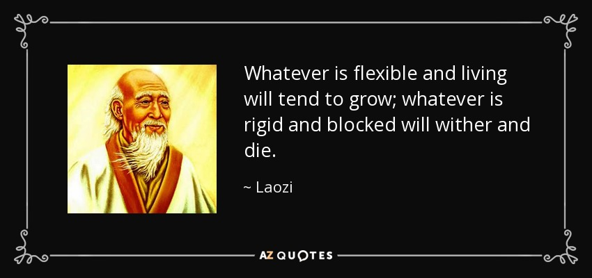 Whatever is flexible and living will tend to grow; whatever is rigid and blocked will wither and die. - Laozi