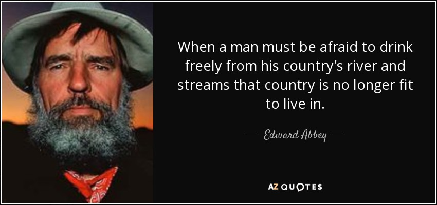 When a man must be afraid to drink freely from his country's river and streams that country is no longer fit to live in. - Edward Abbey