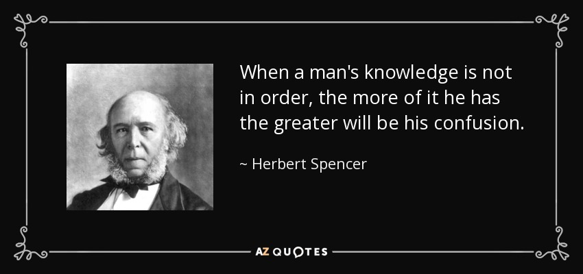 When a man's knowledge is not in order, the more of it he has the greater will be his confusion. - Herbert Spencer