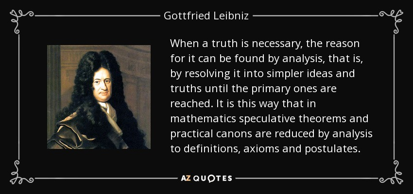 When a truth is necessary, the reason for it can be found by analysis, that is, by resolving it into simpler ideas and truths until the primary ones are reached. It is this way that in mathematics speculative theorems and practical canons are reduced by analysis to definitions, axioms and postulates. - Gottfried Leibniz