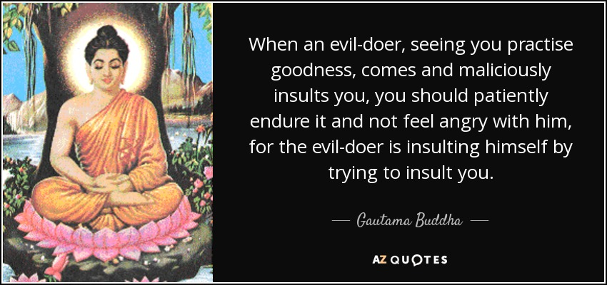 When an evil-doer, seeing you practise goodness, comes and maliciously insults you, you should patiently endure it and not feel angry with him, for the evil-doer is insulting himself by trying to insult you. - Gautama Buddha