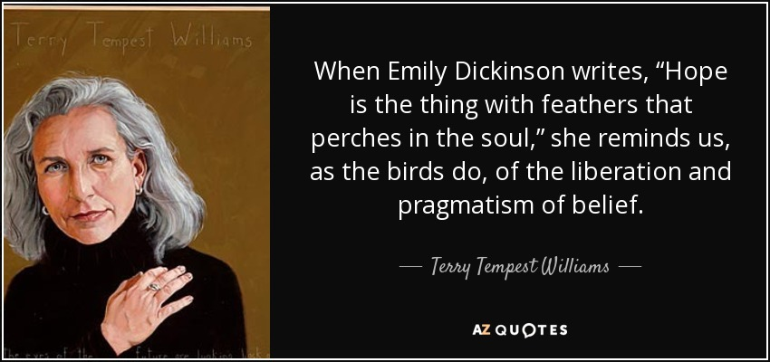 """When Emily Dickinson writes, """"Hope is the thing with feathers that perches in the soul,"""" she reminds us, as the birds do, of the liberation and pragmatism of belief. - Terry Tempest Williams"""