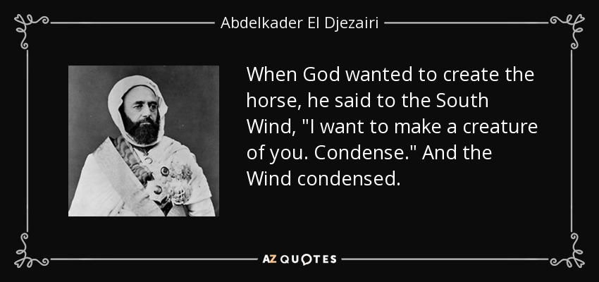 When God wanted to create the horse, he said to the South Wind,