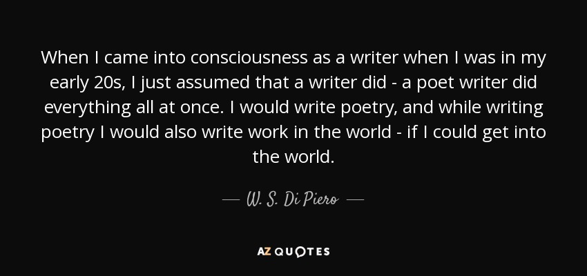 When I came into consciousness as a writer when I was in my early 20s, I just assumed that a writer did - a poet writer did everything all at once. I would write poetry, and while writing poetry I would also write work in the world - if I could get into the world. - W. S. Di Piero