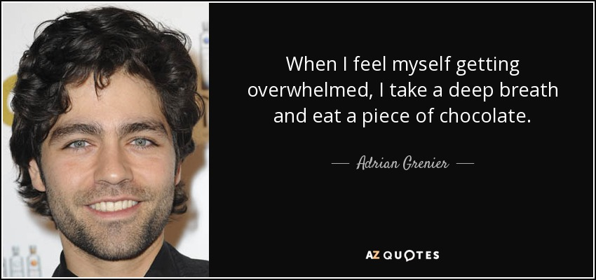 When I feel myself getting overwhelmed, I take a deep breath and eat a piece of chocolate. - Adrian Grenier