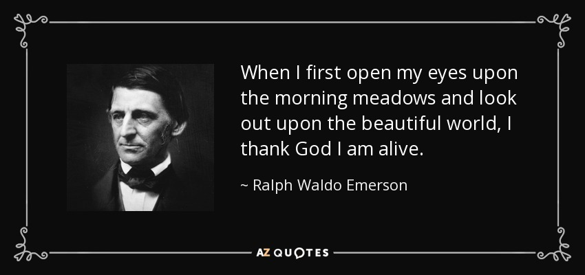 When I first open my eyes upon the morning meadows and look out upon the beautiful world, I thank God I am alive. - Ralph Waldo Emerson