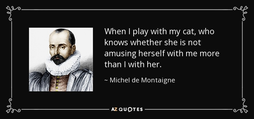 When I play with my cat, who knows whether she is not amusing herself with me more than I with her. - Michel de Montaigne