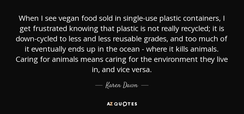 When I see vegan food sold in single-use plastic containers, I get frustrated knowing that plastic is not really recycled; it is down-cycled to less and less reusable grades, and too much of it eventually ends up in the ocean - where it kills animals. Caring for animals means caring for the environment they live in, and vice versa. - Karen Dawn