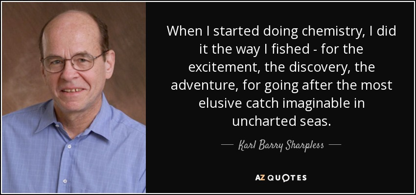 When I started doing chemistry, I did it the way I fished - for the excitement, the discovery, the adventure, for going after the most elusive catch imaginable in uncharted seas. - Karl Barry Sharpless