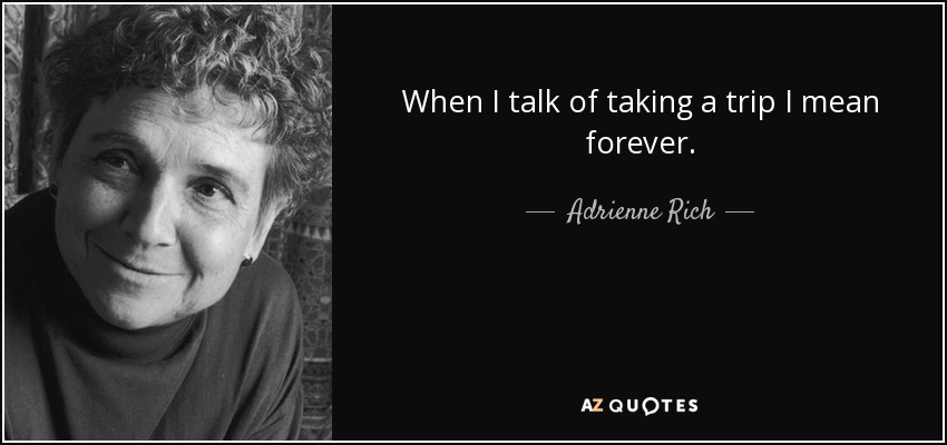 When I talk of taking a trip I mean forever. - Adrienne Rich