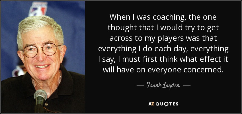 When I was coaching, the one thought that I would try to get across to my players was that everything I do each day, everything I say, I must first think what effect it will have on everyone concerned. - Frank Layden