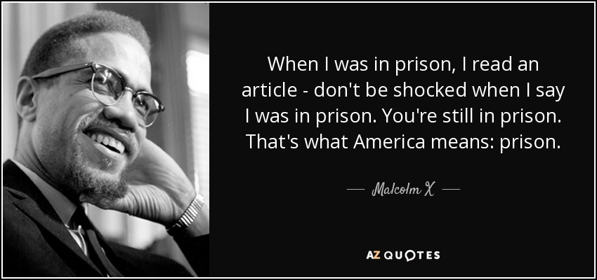 When I was in prison, I read an article - don't be shocked when I say I was in prison. You're still in prison. That's what America means: prison. - Malcolm X