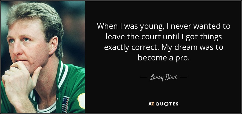 When I was young, I never wanted to leave the court until I got things exactly correct. My dream was to become a pro. - Larry Bird
