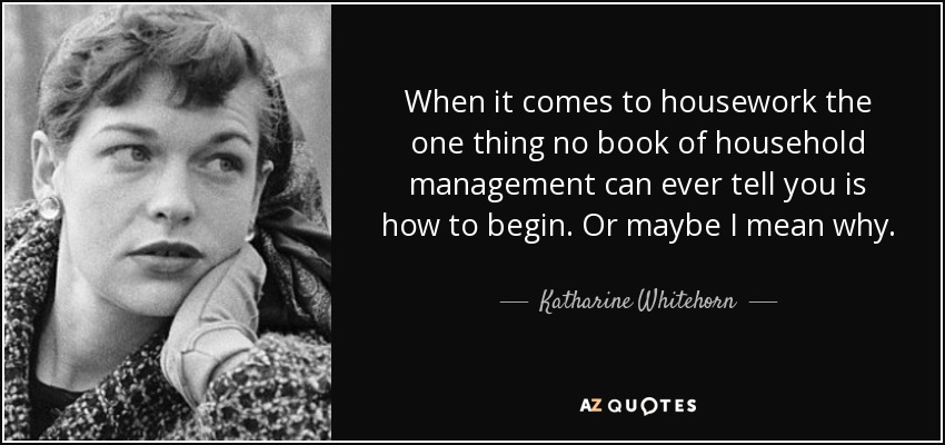 When it comes to housework the one thing no book of household management can ever tell you is how to begin. Or maybe I mean why. - Katharine Whitehorn