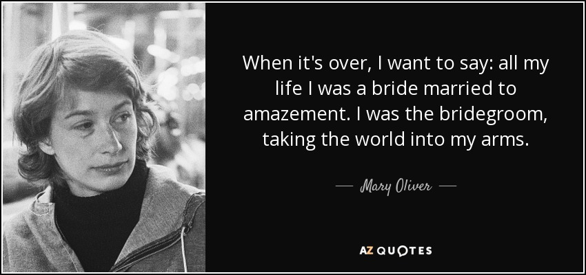 When it's over, I want to say: all my life I was a bride married to amazement. I was the bridegroom, taking the world into my arms. - Mary Oliver