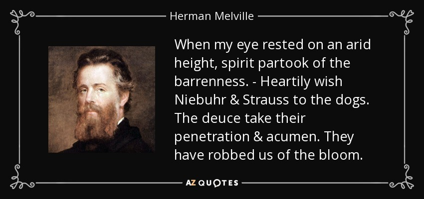 When my eye rested on an arid height, spirit partook of the barrenness. - Heartily wish Niebuhr & Strauss to the dogs. The deuce take their penetration & acumen. They have robbed us of the bloom. - Herman Melville