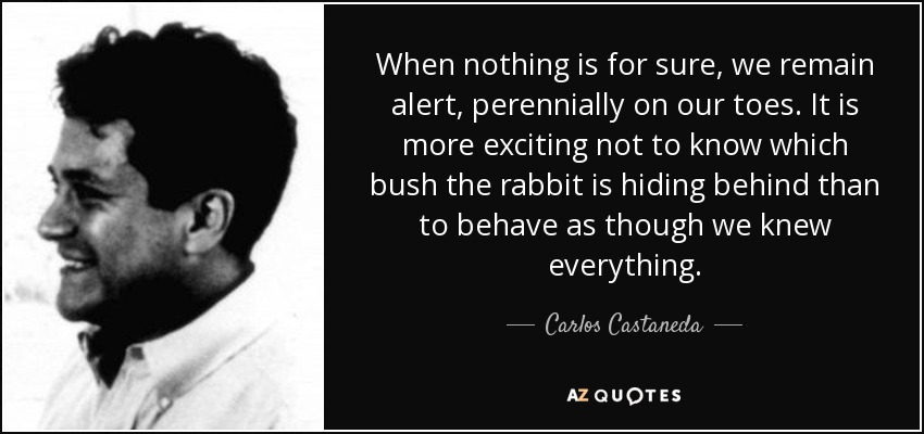 When nothing is for sure, we remain alert, perennially on our toes. It is more exciting not to know which bush the rabbit is hiding behind than to behave as though we knew everything. - Carlos Castaneda