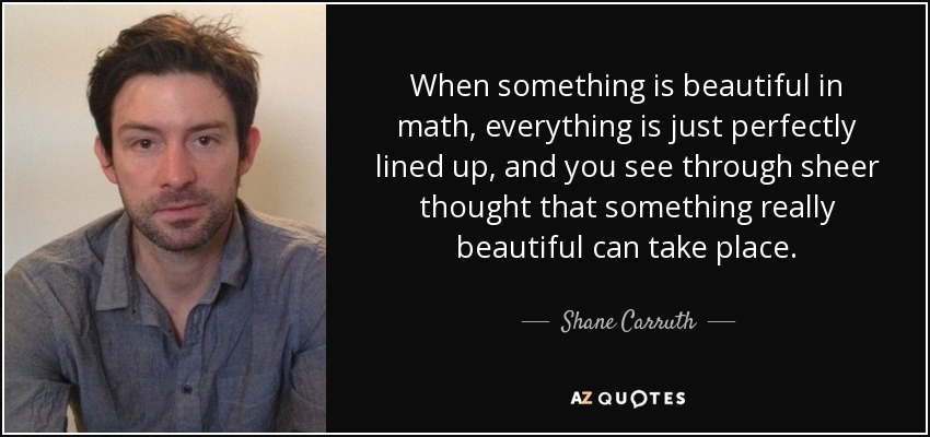 When something is beautiful in math, everything is just perfectly lined up, and you see through sheer thought that something really beautiful can take place. - Shane Carruth