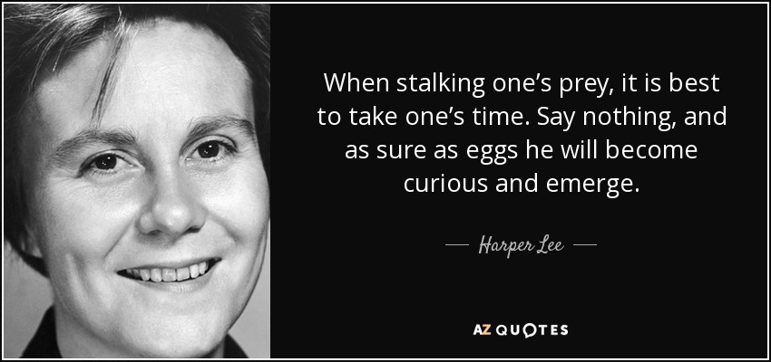 When stalking one's prey, it is best to take one's time. Say nothing, and as sure as eggs he will become curious and emerge. - Harper Lee