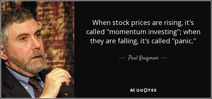 When stock prices are rising, it's called ''momentum investing''; when they are falling, it's called ''panic.'' - Paul Krugman
