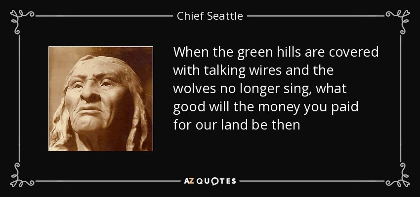 When the green hills are covered with talking wires and the wolves no longer sing, what good will the money you paid for our land be then - Chief Seattle